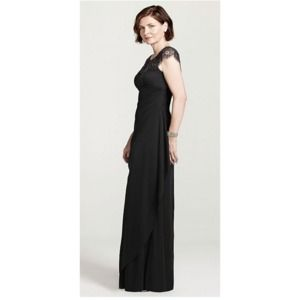 Black Cap Sleeve Long Jersey Dress with Open Back